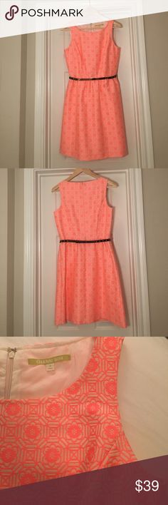 Gianni Bini Fit and Flare Neon Pink Dress Gianni Bini fit and flare, neon patterned pink dress with belt. Belt has minor scratches from storage in drawer. Never worn. Gianni Bini Dresses Asymmetrical