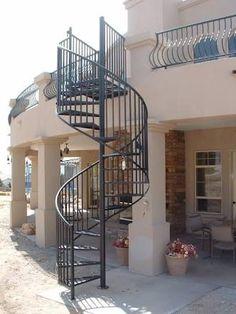 reverse living balcony backyard spiral staircase - Google Search