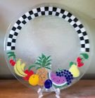 """Peggy Karr Fused Glass Fruit Checkered 14""""  Plate  Platter  Signed"""