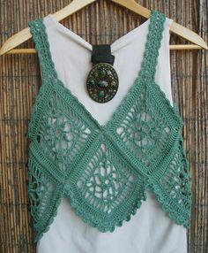 Crochet light green ladies knit vest - new site Crochet Tank Tops, Crochet Summer Tops, Crochet Blouse, Crochet Poncho, Crochet Granny, Crochet Motif, Crochet Bikini, Knit Crochet, Crochet Patterns
