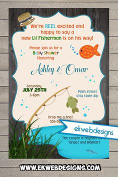Marvelous Lil Fisherman Baby Shower Invitations  Custom Baby Shower Invitation