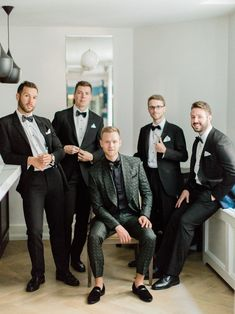 Scott had a custom suit designed for his wedding in deep green with a silky black buttondown, bowtie, and black velvet loafers.  Talk about serious groom style! Wedding Looks, Chic Wedding, Wedding Styles, White Pocket Square, Pocket Squares, Bow Tie Suit, Bow Ties, Velvet Smoking Jacket