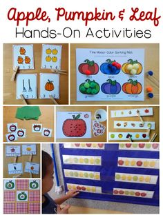 Wow. Such a variety of hands on leaf, pumpkin, and apple activities for preschool and kindergarten!