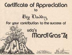 Mardi Gras UCLA 1974 Certificate of Appreciation