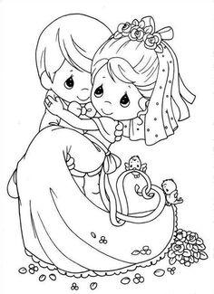 precious moments dibujos de bellas parejitas de novios en la boda