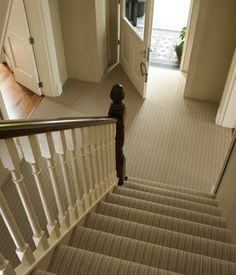 Chapel Cove Vesta Home Show Traditional Staircase By David Clark Construction, Llc Striped Carpet Stairs, Striped Carpets, Stair Carpet, Staircase Runner, Hallway Carpet, Traditional Staircase, Hallway Designs, Hallway Ideas, Stair Landing