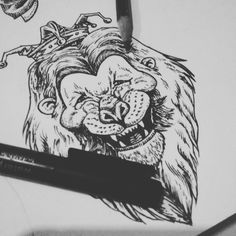 #lion #laughing #crown #drawing
