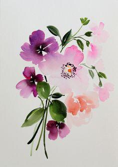 10 x 14 Anemone Bouquet Study  Original Painting by YaoChengDesign