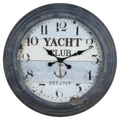 (M's office ---  blue) Brimming with beach-chic style, this rustic wall clock brings a touch of nautical design to your foyer, living room, or bedroom. Product:...