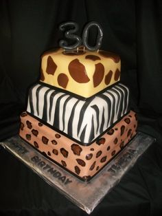 Animal print 30th birthday cake.