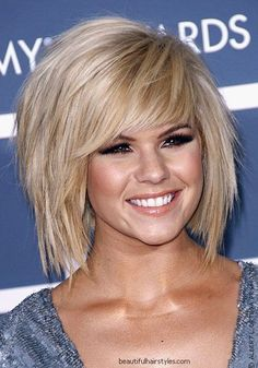 Kimberly Caldwell in New Haircut with Messy Razored Layers and Full Angled Fringe - Beautiful Hairstyles