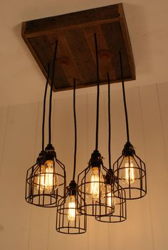 Cage Light Chandelier - Cage Lighting - Industrial Lighting - Edison Bulb - Upcycled Wood-Hand Made in USA  