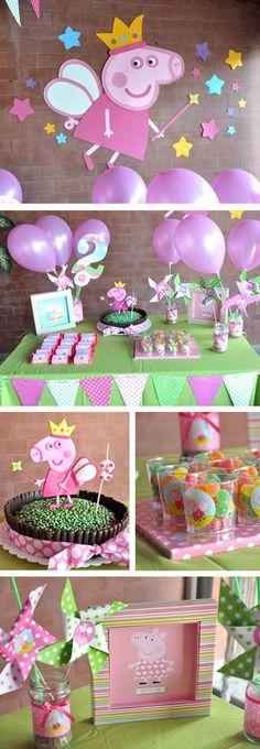 Cumpleaños infantil Peppa Pig Princesa --- love the cake Fiestas Peppa Pig, Cumple Peppa Pig, Peppa Pig Pinata, 4th Birthday Parties, Birthday Fun, Peppa Pig Princesa, Birthday Decorations, Pig Decorations, Party Time