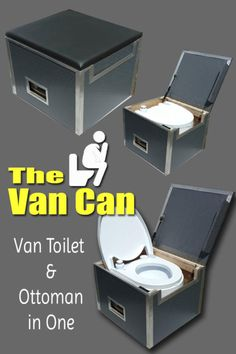 The Van Can: A Sprinter Van Toilet and Ottoman in One - camping Kombi Trailer, Cargo Trailer Camper, Trailer Awning, Car Camper, Popup Camper, Minivan Camping, Truck Camping, Camping Gear, Camping Hacks