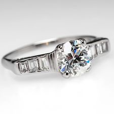 Art Deco Engagement Ring w/ Old Euro & Baguettes Solid Platinum Jewelry 1930's