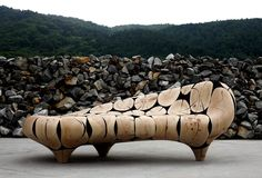 Chaise Longue in Coulter Pine Wood Log Cross Sections by Jaehyo Lee