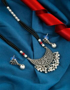 Peacock Design Oxidized Finish Long Mangalsutra For Women India Jewelry, Ethnic Jewelry, Jewelry Shop, Jewelry Art, Jewelry Gifts, Gold Jewelry, Fashion Jewelry, Silver Payal, Rakhi Gifts For Sister