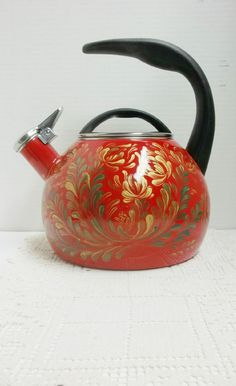 Tea Kettle Red Enamel Hand Painted Scandinavian by FolkArtByNancy
