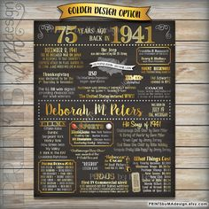 75th Birthday 1941 Chalkboard Poster Sign, 75 Years Ago, Born in 1941 USA Events…