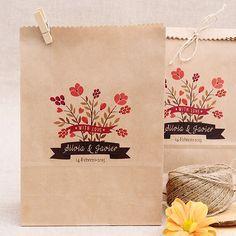 Bolsas Kraft para bodas personalizadas: Flores Silvestres