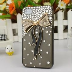 3D Crystal iPhone Case for AT Verizon Sprint Apple iPhone 4/4S Gold and Black Bow