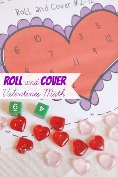 Heart Roll and Cover Valentine's Math Game-- Practice math concepts with your preschooler like correspondence, addition, and number recognition! Preschool Math Games, Kindergarten Games, Fun Math, Math Activities, Math Math, Math Tutor, Preschool Learning, Indoor Activities, Learning Activities