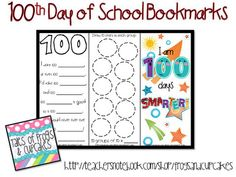 100th day free download--printable bookmarks. 2 of them have 100th day activities!
