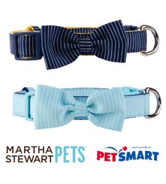 The #MarthaStewartPets Nautical bow tie collars are both lightweight and comfortable. Available in Navy or Light Blue - only at #PetSmart.