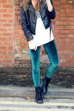 Velvet leggings.