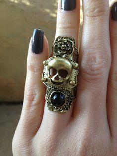 Full Finger Bronze Skull Ring by LittleHouseofVintage on Etsy