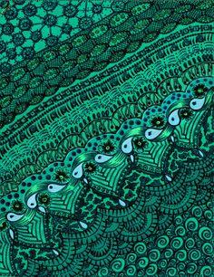 Pattern in Aqua and Green Mosaic Art, Mosaic Tiles, Green Colors, Blue Green, Emerald Green, Teal Art, Aqua, Paisley Art, Cyan