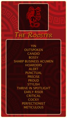 Chinese Signs: Rooster - Register at our site and find out your Chinese animal sign! http://bit.ly/1dqeH58