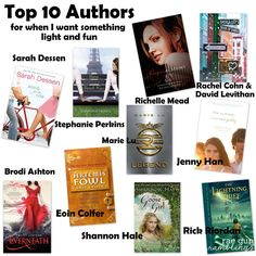 Authors I turn When I Want Somthing Light and fun