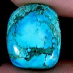 ~13X16MM~NATURAL DESIGNER OLD TIBET TURQUOISE CUSHION CAB GEMSTONE 08.30CT. #Jaipurgems2016