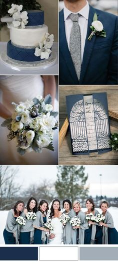 beautiful blue and gray winter wedding color ideas