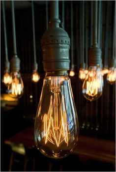 Edison Light bulb gives a much softer light if the fittings will work with your existing lighting? Edison Lighting, Industrial Lighting, Vintage Lighting, Design Industrial, Task Lighting, Dim Lighting, Unique Lighting, Lighting System, Lighting Solutions