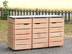 Mülltonnenbox Holz - Holzweise Garbage Can Shed, Garbage Containers, Outdoor Furniture, Outdoor Decor, Canning, Wood, Home Decor, Diy, Woodworking