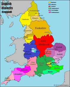 This is a map showing different dialects of English in England. This really is a useful tool for the other maps that I have to show that just because there are different dialects doesn't mean that the people wont be able to understand each other.