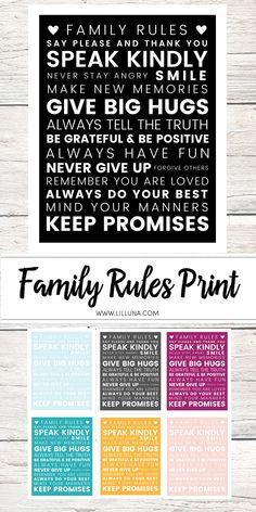 Family Rules Print Brain on Hugs