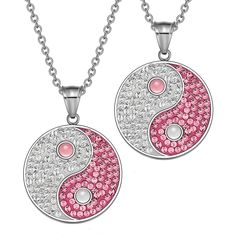 Yin Yang Love Couples Best Friends Amulets Austrian Crystals White and Pink Cats Eye Necklaces