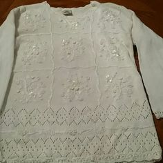 Elegant embroidered sweater Stunning embroidery and pearls embellish this knit sweater from the delicate scalloped neckline to the ribbon - laced hemline. Warm and beautiful. Oversized. Partners Sweaters Crew & Scoop Necks