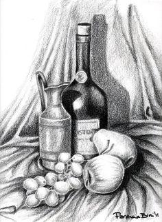 10 ideas to start drawing still life - pencil drawings - - Still Life Sketch, Still Life Drawing, Still Life Art, Dark Art Drawings, Pencil Art Drawings, Art Drawings Sketches, Still Life Pencil Shading, Composition Drawing, Stippling Art