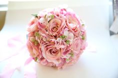 Pink Rose and Hydrangea Bridal Bouquet. Pink Wedding Bouquet with Roses Hydrangeas Bridal Bouquet. Romantic Shabby Chic Silk Wedding Bouquet...