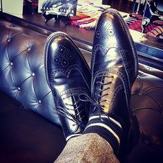 Loake Savoy's in black. Striped socks. Grey donegal tweed suit.