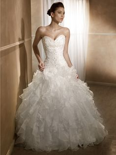 Mia Solano Ruffled Organza Wedding Gown - Sweetheart Neckline, Beaded Bodice, Corset Back | Now available to try on at The Hope Chest Bridal - Ham Lake, MN