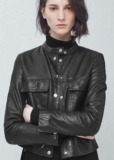 Pocket leather jacket - Jackets for Women | MANGO USA