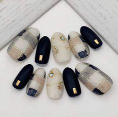 Plaid Nail Designs, Simple Nail Art Designs, Korean Nail Art, Korean Nails, Gorgeous Nails, Pretty Nails, Disney Acrylic Nails, Bridal Nail Art, Plaid Nails