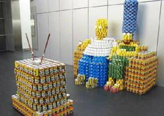 A bit of eye candy: Canned food sculptures at Inhabitat. Learn more about the Canstruction competition HERE.) [tags]canned food, sculpture, The Simpsons, competition[/tags] Candy Crush Cheats, Homer And Marge, Homer Simpson, Tin Can Art, Food Sculpture, Sculpture Ideas, Edible Crafts, Edible Art, Easy Crafts