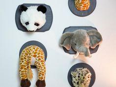 Make easy nursery wall art by mounting a stuffed animal head.