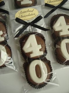 8 Double Number 40 Chocolate Oreo Cookie Favors Forty Fortieth Birthday Anniversary Party Favors Candy Dessert